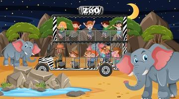 Safari at night scene with many kids watching elephant group vector