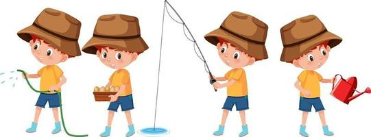 Set of a boy cartoon character doing different activities vector