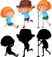 Set of a girl doing different activities with silhouette vector
