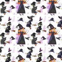 patrón sin fisuras con muchas brujas sobre fondo blanco vector