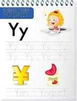 Alphabet tracing worksheet with letter Y and y vector