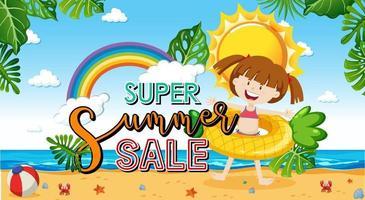 super venta de verano con una chica en la plantilla de banner de playa vector