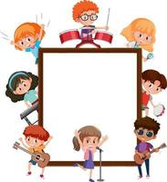 Empty banner with many kids doing different activities vector