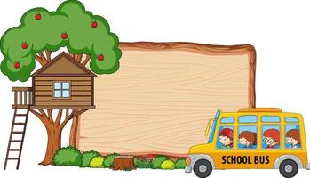 Empty wooden board with many kids on school bus isolated vector