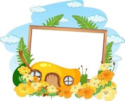 Empty banner with fantasy mango house and many flowers vector