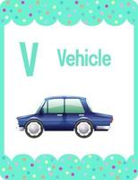 Alphabet flashcard with letter V for Vehicle vector