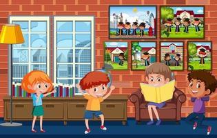 Many kids in the room scene vector
