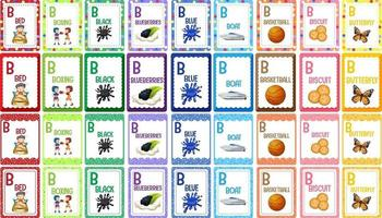 Letter B alphabet flashcard set vector