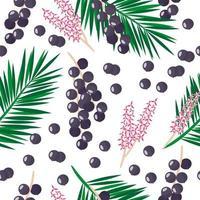 Vector de dibujos animados de patrones sin fisuras con euterpe oleracea o acai palm frutas exóticas, flores y hojas sobre fondo blanco.