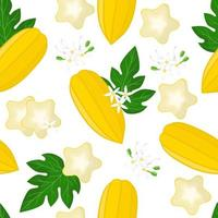 Vector cartoon seamless pattern with Carica pentagona or Babaco exotic fruits, flowers and leafs on white background