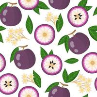 Vector cartoon seamless pattern with purple star apple exotic fruits, flowers and leafs on white background