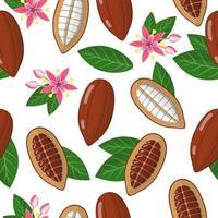 Vector de dibujos animados de patrones sin fisuras con theobroma cacao o árbol de cacao frutas exóticas, flores y hojas sobre fondo blanco.