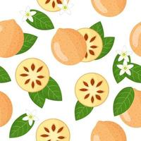 Vector cartoon seamless pattern with Aegle marmelos or Bael exotic fruits, flowers and leafs on white background