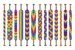vector conjunto de pulseras de amistad hechas a mano de hilos aislados sobre fondo blanco. desfile del orgullo, lgbt y amor libre.