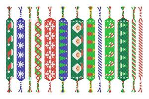 Vector set of handmade friendship bracelets of threads isolated on white background. Merry Christmas and Happy New Year