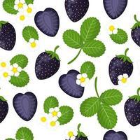 Vector de dibujos animados de patrones sin fisuras con fresas negras frutas exóticas, flores y hojas sobre fondo blanco.