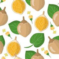 Vector cartoon seamless pattern with Matisia cordata or Chupa-chupa exotic fruits, flowers and leafs on white background