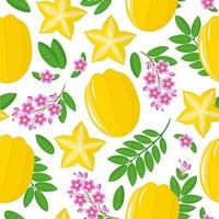 Vector cartoon seamless pattern with Averrhoa carambola or star fruit exotic fruits flowers and leaf on white background