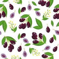 Vector cartoon seamless pattern with Syzygium cumini or Jambolan exotic fruits, flowers and leafs on white background