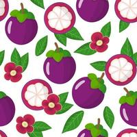 Vector cartoon seamless pattern with purple Mangosteen exotic fruits, flowers and leafs on white background