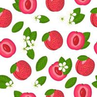 Vector cartoon seamless pattern with Plum Apricot hybrid or Pluot exotic fruits, flowers and leafs on white background