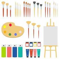 conjunto de elementos de herramientas de pintura concepto de vector colorido de dibujos animados. suministros de arte caballete, lienzo, tubos de pintura, pintura textil, pinceles con diferentes modelos, etc. ilustración de materiales creativos vectoriales