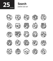 Search outline icon set. Vector and Illustration.