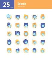 Search flat icon set. Vector and Illustration.