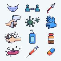 Medical and health icon collection vector