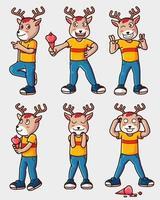 Deer mascot with ice cream vector