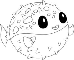 Pufferfish Kids Coloring Page - Great for Beginner Coloring Book vector