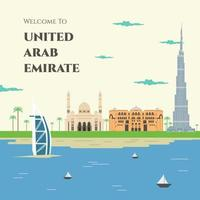 United Arab Emirates colorful flat style, vector illustration. Welcome to United Emirat Arab. Cityscape with all famous buildings. Skyline UAE design for business travel and tourism concept
