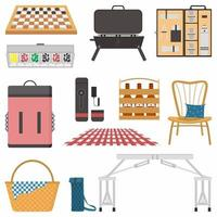 Picnic attributes flat color vector object set. Basket, table, chair, backpack, beer etc. Picnic in sunny day isolated cartoon illustration for web graphic design and animation collection