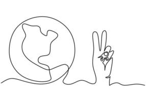 Continuous one line drawing of hands with Earth globe isolated on white background. Earth Day theme. A human hand with world planet earth contour hand drawn sketch design. Vector illustration