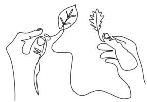 Continuous one line drawing of hands holding a plant. Concept of growing and love earth. Back to nature theme isolated on white background with minimalist style. Vector earth day illustration