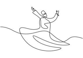 dibujo continuo de una línea de bailarina sufí. derviche giratorio tradicional islámico. diseño minimalista tradicional de baile de sema. una de las atracciones turísticas más famosas de Estambul. ilustración vectorial vector