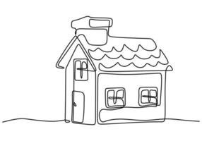 One continuous line drawing of simple house with a chimneys. Family home minimalist sketch linear design isolated on white background. Home exterior concept. Vector illustration