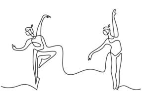 Continuous line drawing of loving couple woman and man dancing. Energetic young couple dance of man and girl isolated on white background. Hand drawn dancer picture silhouette. Vector illustration
