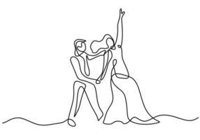 dibujo continuo de una línea de baile de pareja aislado sobre fondo blanco. hombre con esmoquin y mujer con vestido elegante haciendo diseño minimalista de baile romántico. ilustración de dibujo vectorial vector