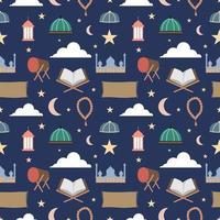 patrón islámico sin fisuras para el evento ramadán y eid mubarrak. iconos musulmanes ramadan kareem tambor, cúpula de la mezquita, cuentas de oración, velo, alfombra de oración, mukena, al-qur'an, linterna. ilustración vectorial vector