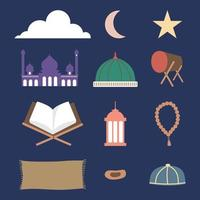 Set of ramadhan stuff such as drum, mosque dome, prayer beads, dates, cap, veil, prayer mat, mukena, Al-Qur'an, lantern isolated on navy blue background. Flat cartoon vector illustration