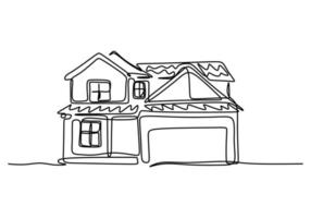 Single one line drawing of house with two floor. Home building construction isolated doodle minimal concept. Home exterior theme draw graphic design vector illustration on white background