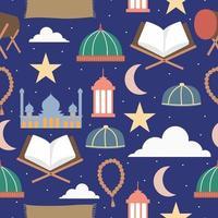 Happy Eid Mubarak. Ramadhan stuff seamless pattern isolated on navy blue background. Ramadhan holy festival concept. Islamic Holy Month, Ramadan Kareem, Iftar Party celebration. Vector flat cartoon