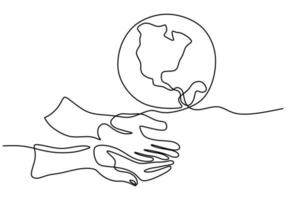Continuous one line drawing of hands holding Earth globe isolated on white background. Earth Day theme. A human hand holding world planet earth contour hand drawn sketch design. Vector illustration