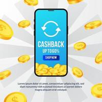cashback promotion for e commerce site with 3d phone and dollar golden coin illustration concept for banner flyer poster vector