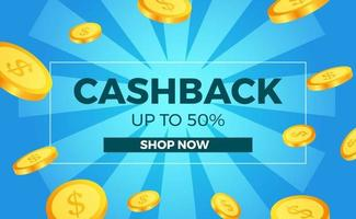 golden coin money for cashback promotion for ecommerce poster banner template with blue background vector