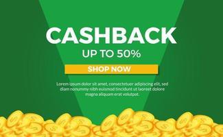 golden pile money concept illustration for cashback promotion ecommerce poster banner template with green background vector