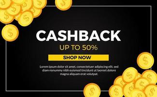 cashback promotion poster banner template with golden coin money for ecommerce with black background vector