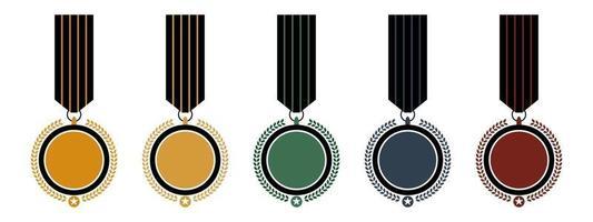 plantilla de logotipo de medalla de insignia clásica. competencia premio medallas juego ilustración vectorial. vector