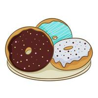 Three colorful frosted doughnuts on a plate, isolated on a white background. Vector illustration in cartoon flat style.